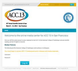 Healthcare Event Website Design for ACC.13