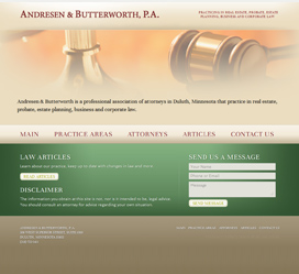Website Design for Duluth lawyers, Andresen & Butterworth