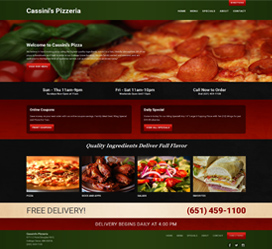 Custom website design for Cassini's Pizzeria