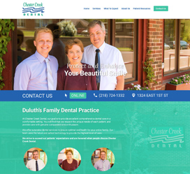 Custom web development for Chester Creek Dental