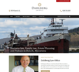 Custom website design for Dahlberg Law Office Duluth