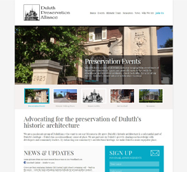 Custom website development for the Duluth Preservation Alliance