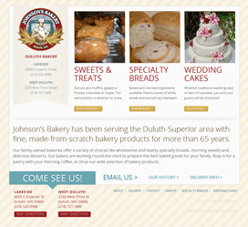 Bakery Website Design for Johnson's Bakery in Duluth MN