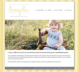 Smocked Clothing Line Website Design for Liney Lu