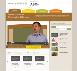 Custom web development for Money Sanity U