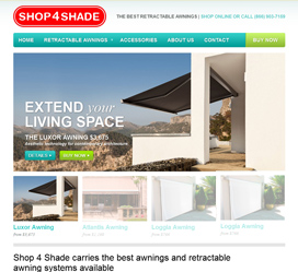 E-Commerce Web Site Development for Shop 4 Shade Awnings