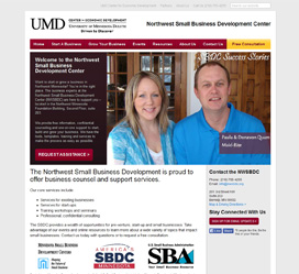 Custom website design for UMD's Northwest Small Business Development Center