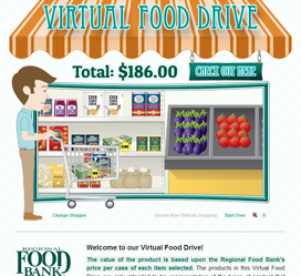 Custom animated website for the Regional Food Bank's Virtual Food Drive