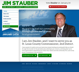 Custom political candidate web design for Jim Stauber